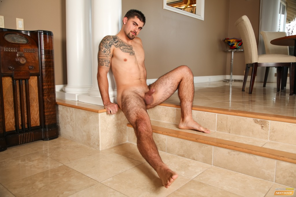 Hairy Pierced Guy Jerking Off