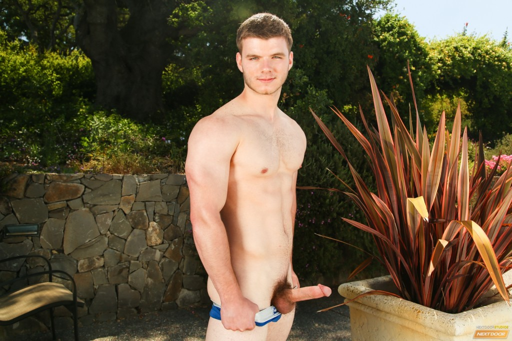 Beefy Stud Whacking Off In A Garden
